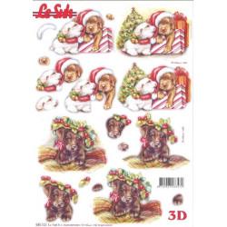 Carterie 3D Prédécoupée - Chiots à Noël 680122