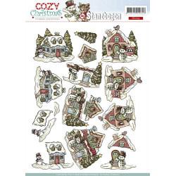 Carterie 3D Prédécoupée Noël - Yvonne Créations - Maisons à Noël