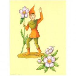 Image 3D - astro 559 - 24x30 - lutin avec fleurs