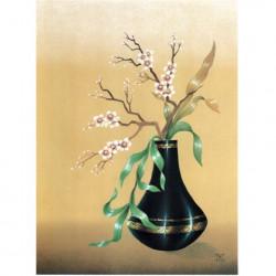 Image pour tableaux 3d EU114 - 30x40  - Fleurs blanches vase noir   -  Aux Bleuets Loisirs créatifs à Reims