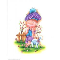 Image 3D VENEZIA 222 - 24X30 - Fille avec mouton