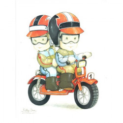 Tableaux-3D VENEZIA 255 - 24X30 - Deux Enfants sur une moto - Aux Bleuets Loisirs créatifs à Reims