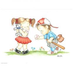 Tableaux-3D VENEZIA 259 - 24X30 - Enfants jouent au  baseball