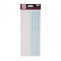 Stickers Paillettés -  3D Bordures - Bleu et blanc rosé