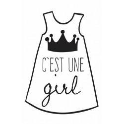 """TAMPON D   """"c'est une girl""""   6x4 cm"""