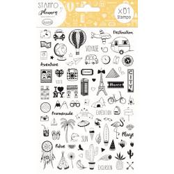 STAMPO Planner Set de 81 tampons Carnet de voyage