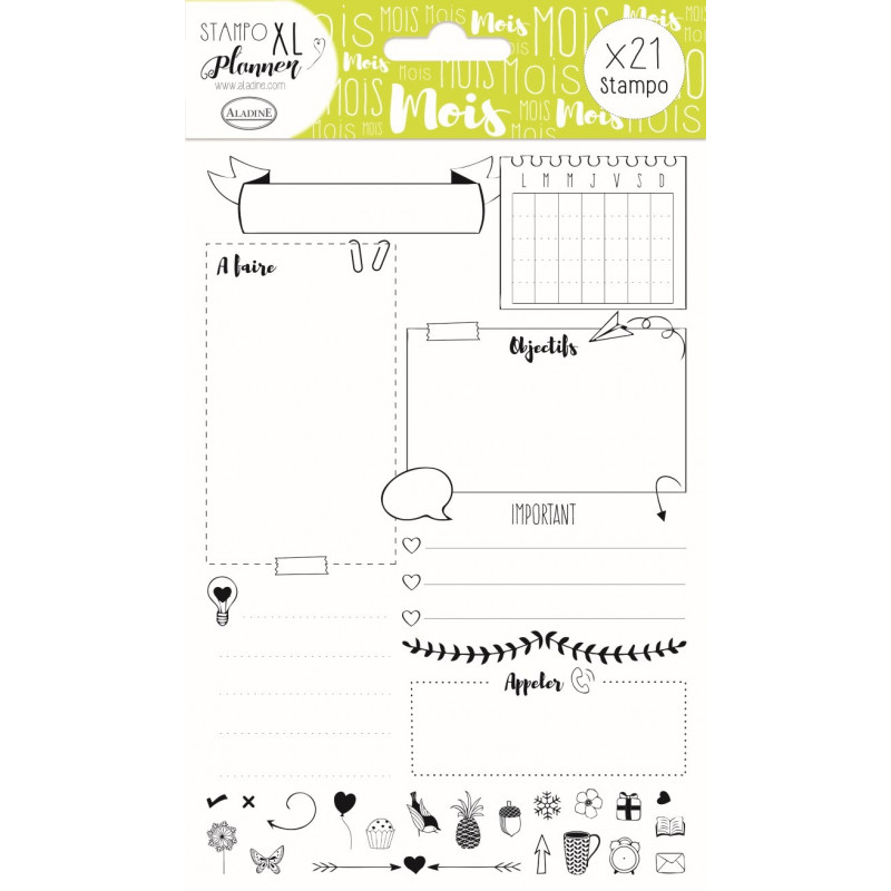 STAMPO Planner Page mois Set de 21 tampons