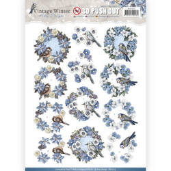 Carterie 3D Prédécoupée - Amy Design - Couronnes de fleurs et oiseaux sb10213