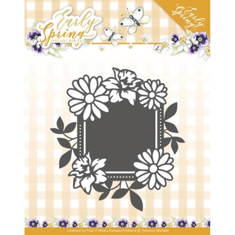 Dies - Precious Marieke - Early Spring - Etiquette carrée Fleurs de Printemps 7.8 x 8.1 cm