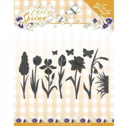 Dies - Precious Marieke - Early Spring - Fleurs et papillons 10 x 5.8 cm