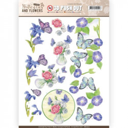 Carte 3D prédéc. - jeanine's art - classic butterflies and flowers - papillons sur fleurs bleues