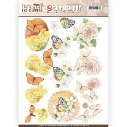 Carte 3D prédéc. - jeanine's art - classic butterflies and flowers - papillons sur fleurs