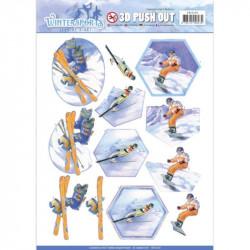 Carte 3D prédéc. - jeanine's art - wintersports -ski