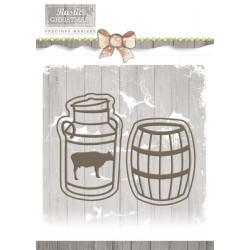 Die - Precious Marieke - Rustic Christmas - Pot de lait et tonneau 3 x 5 cm