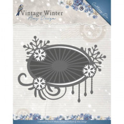 Die - Amy Design - Vintage Winter - Snowflake Swirl Label 8,8 x 6,5 cm.