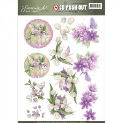 Carte 3D prédéc. - jeanine's art - with sympathy - fleurs violettes