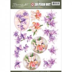 Carte 3D prédéc. - jeanine's art - with sympathy - fleurs mauves