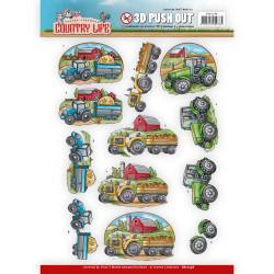 Carterie 3D Prédécoupée - Yvonne Creations - Country Life - Tracteurs