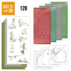 Dot and do 128 - kit Carte 3D - agneaux de pâques et fleurs blanches