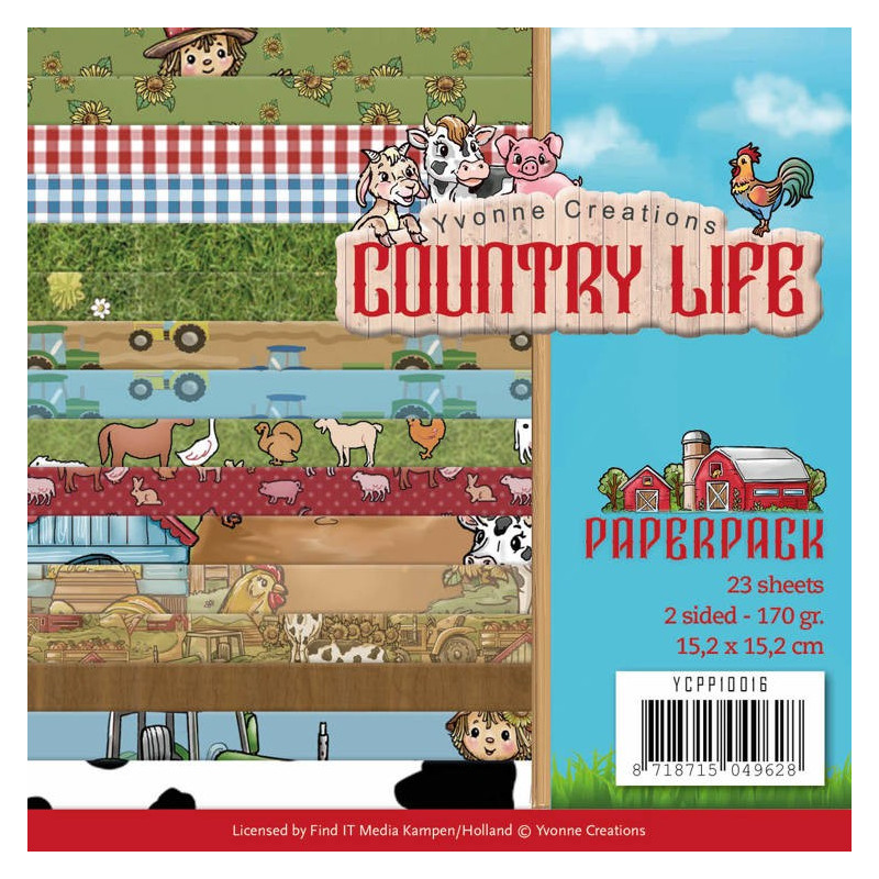 Bloc de papier - Yvonne Creations - Country Life 15 x 15 cm