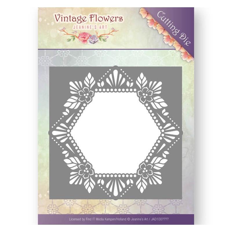 Die - Jeanine's Art - Vintage Flowers - Hexagone Floral 13x13 cm