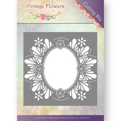 Die - jeanine's art - vintage flowers - ovale floral 13.1x13.1 cm