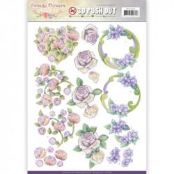 Carterie 3D Prédécoupée - Jeanine's Art - Vintage Flowers - Fleurs mauves