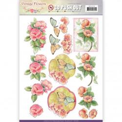 Carterie 3D Prédécoupée - Jeanine's Art - Vintage Flowers - Fleurs roses