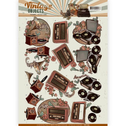 Carterie 3D à découper -  Yvonne Creations - Vintage Objects - Musique