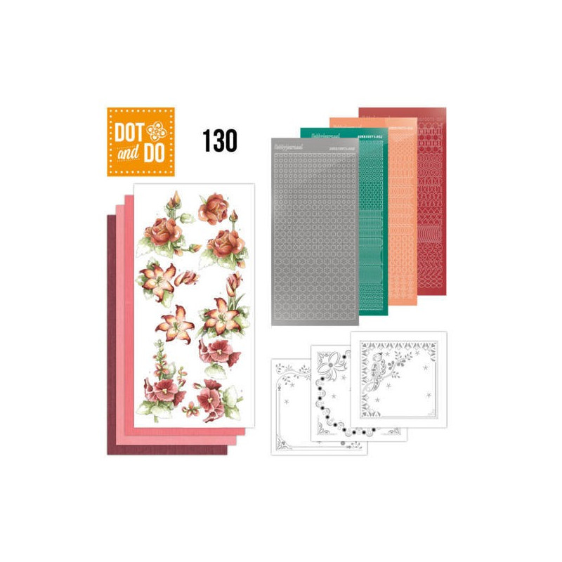 Dot and Do 130 - Kit Carterie 3D - Precious Marieke - Fleurs rouges