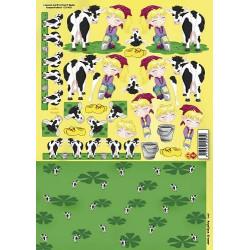 Carterie 3D à découper - Enfants et vaches