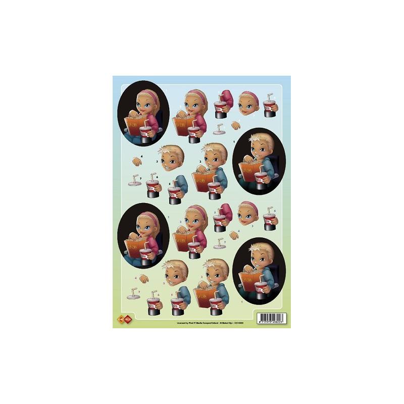 Carterie 3D à découper - Enfants au ciné