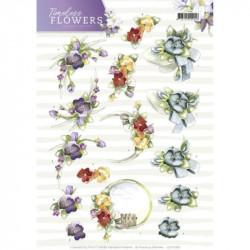 Carte 3D à découper - precious marieke - timeless flowers - violettes