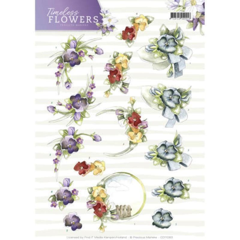 Carterie 3D à découper - Precious Marieke - Timeless Flowers - Violettes
