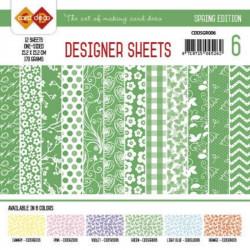 Bloc papier designer vert printemps 12 feuilles 15.2 x 15.2 cm