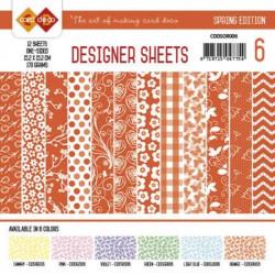 Bloc papier designer orange printemps 12 feuilles 15.2 x 15.2 cm