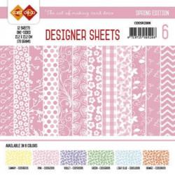 Bloc papier designer rose printemps 12 feuilles 15.2 x 15.2 cm