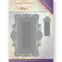 Die - Jeanine's Art - Vintage Flowers - Rectangle fleurs 12,3 x 9,2 cm.