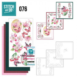 Stitch and Do 76 Carterie 3D broderie - Fleurs roses
