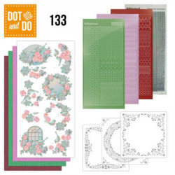 Dot and do 133 - kit Carte 3D - Oiseaux et roses