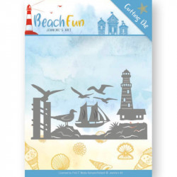 Die - jeaninnes art - Beach Fun - Bordure Phare 12.5 x 7.6 cm