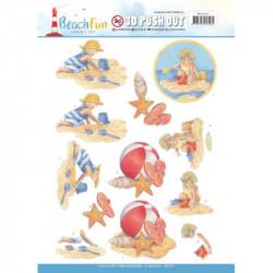 Carterie 3D prédécoupée -  Jeanine'sArt - Beach fun - Jouer à la plage