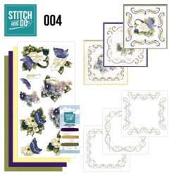 Stitch and do 04 carterie 3D broderie - fleurs blanches et bleues