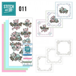 Stitch and do 11 - kit Carte 3D broderie - Couple de chats