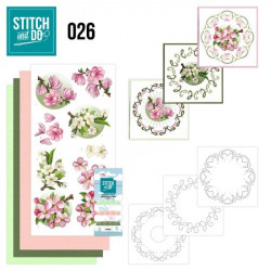 Stitch and do 26 - kit Carte 3D broderie - Fleurs roses