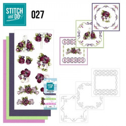 Stitch and do 27 carterie 3D broderie - Fleurs bordeaux