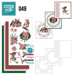 Stitch and do 49 - kit Carte 3D broderie - Oiseaux et clés