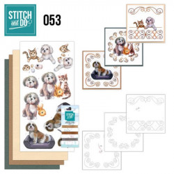 Stitch and do 53 - kit Carte 3D broderie - Chats et chiens