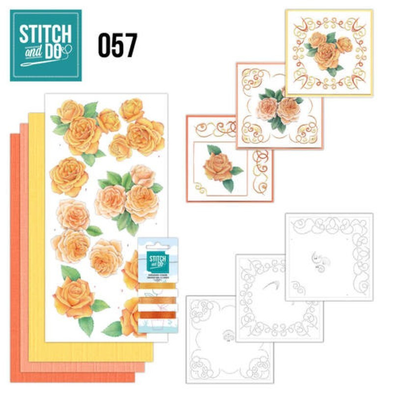 Stitch and do 57 carterie 3D broderie - Roses orangées