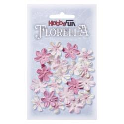 Fleurs en papier 2 cm blanc et rose paquet de 20